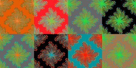 Set of vivid seamless patterns with abstract flowers. Bright colorful spring vector templates for web backgrounds and greeting cards Imagens - 145522732