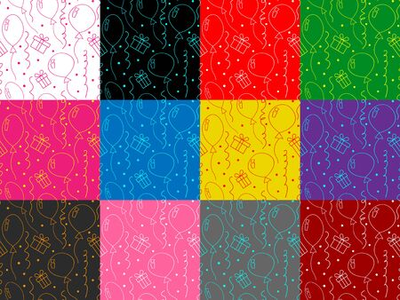 Set of birthday seamless patterns with balloons, gifts, confetti on various backgrounds. Colorful vector templates for greeting cards and prints