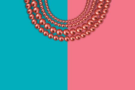 Pink gold beads on duotone pastel pink blue background. Luxury vector backdrop with copy space Ilustração
