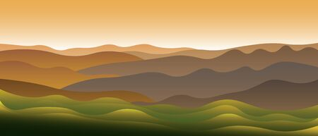 Beautiful abstract landscape with green hills and clear sky in the early morning. Horizontal vector banner design with inspiring natural scenic view. Copy space