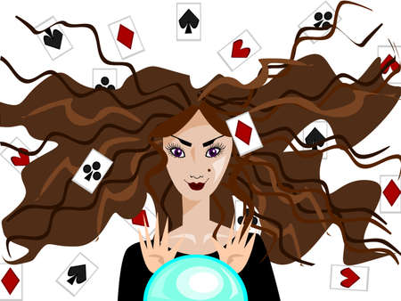 knows: This fortune-teller knows everything! She can read the cards and a magic crystal ball.