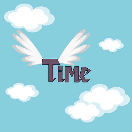 time flies: Time Flies.  The word time in the sky with wings.