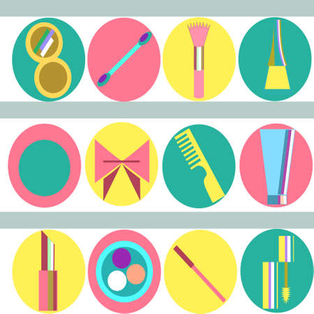 vivid colors: Set of beauty and make-up - related objects in vivid colors Illustration