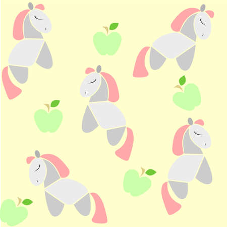 green apples: A background for kids with pink-hair horses and green apples Illustration