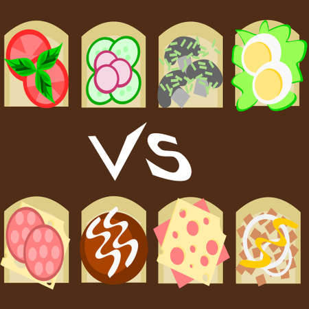 ones: Health sandwiches vs unhealthy ones Illustration