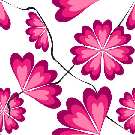 tints: Seamless pattern with heart-shaped petals in pink tints Illustration