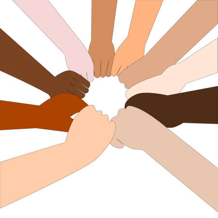 nationalities: People of different nationalities stretch out their hands to make a circle