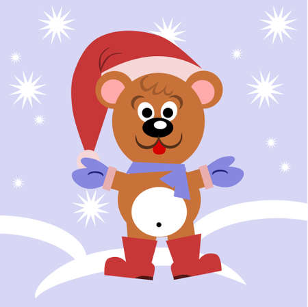 mittens: A funny bear wearing a scarf, hat and mittens.