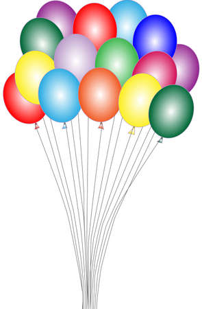 levitation: Many balloons of different color are on a white background Illustration