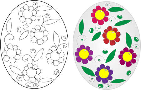Easter egg coloring book on a white background Vector Illustration