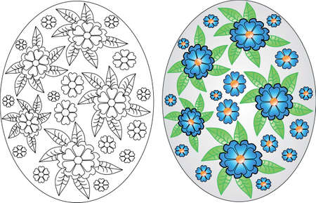 Easter eggs coloring pages set on the white background