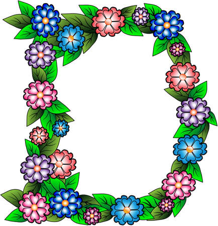 grass isolated: Letters D made of leaves and flowers Illustration
