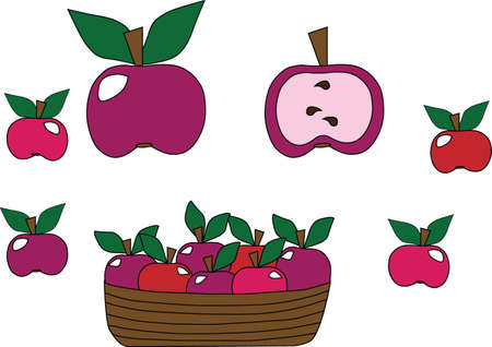outage: Apples in a set are different isolated on a white background. Apples are in a basket. Half of apple. Apples of different colors. Illustration