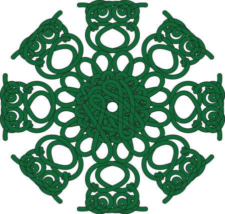 etno: Beautiful vintage round pattern. Decorative retro banner isolated. Invitation, t-shirt print, wedding card, scrapbooking. Illustration