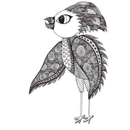 Pájaro Abstracto Con Agua Para Colorear Página Del Adulto. Dibujado ...