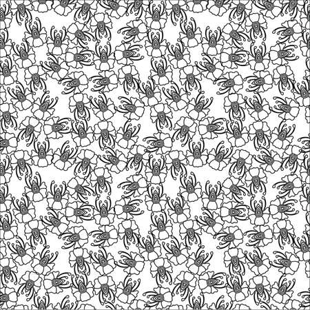 cor: Flower seamless pattern on the white background. For design the fabric, greeting card, wrapping paper.