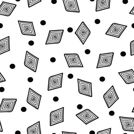 curved line: Seamless rhombus geometric background. Black and white abstract geometric background, monochrome retro texture. Pattern with curved line. Illustration