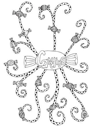 adult birthday party: Line candy. Black and white set candy.  For adult coloring book page design, greeting card and other design.