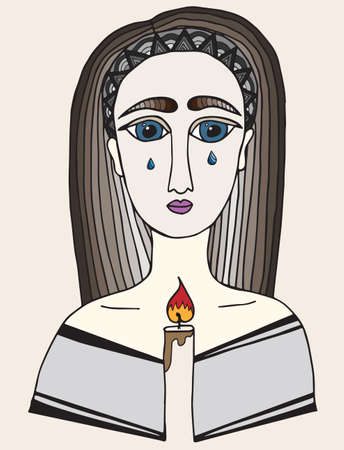pleading: Multicolor girl with a tear on face holds a candle in hands. Pray girl.