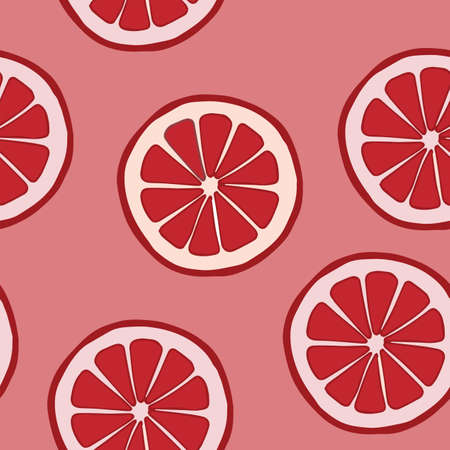 grapefruit: Seamless pattern with grapefruit on a red background. Abstract illustration. Fruit collection. Vector. Illustration