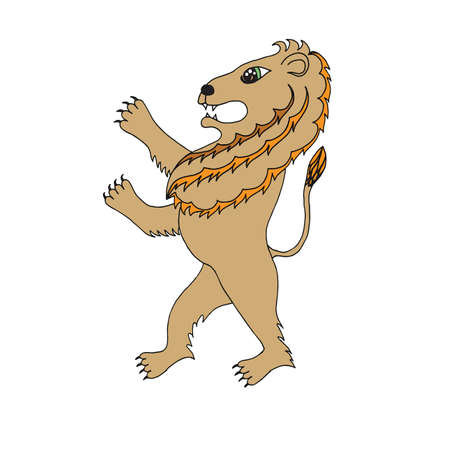 royal safari: Color isolated lion on the white background. Design element for greeting card, cover and other. Illustration