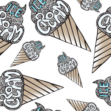 black and white cone: Seamless pattern with ice cream on the white background, hand drawing waffle cone and lettering inscription icecream, black and white isolated vector illustration.
