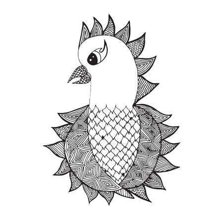 totem indien: Cute isolated parrot on the white background. Animals, bird. Hand drawn doodle. African,indian, totem tattoo element design. Sketch for avatar, tattoo, poster, print or t-shirt. Illustration