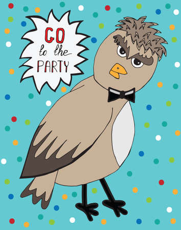 sparrow bird: Isolated sparrow bird with invitation to party. Hipster sparrow can be used to design for T-shirt, card, poster, invitation. Vector colored illustration.