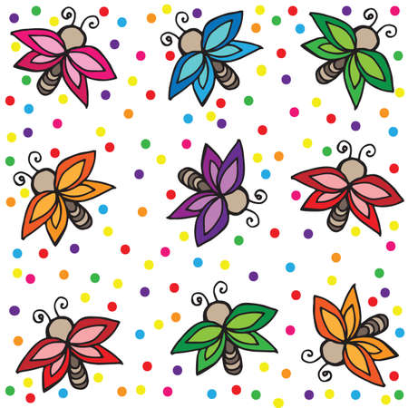 batterfly: Different color butterflies with multicolor circle on white. Butterfly set for gift card, greeting card, invitation, posters, texture backgrounds, placards, banners, other decoration.