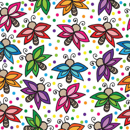 batterfly: Seamless with multicolor butterflies isolated on white. Vector illustration seamless for banner, card, invitation, textile, fabric, wrapping paper. Illustration