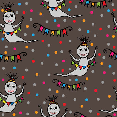 otherworldly: Seamless with smile ghost with small flags in hands. Vector illustration seamless for banner, card, invitation, textile, fabric, wrapping paper.