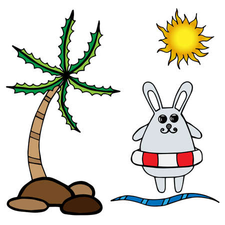 rescue circle: Little rabbit on rescue circle, palm and sun. Isolated sea or ocean set vector illustration. Rabbit series.