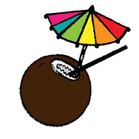 aperitif: Cocktail with a coconut and bright umbrella. Beach drink vector icon isolated on white background. Illustration