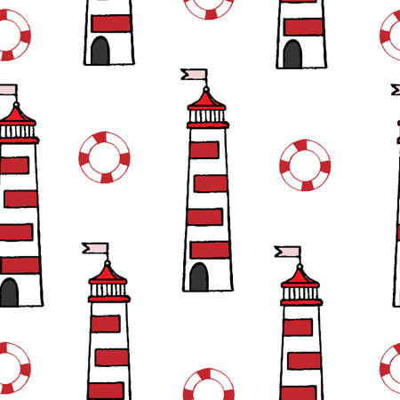 rescue circle: Seamless with lighthouse and rescue circle on the white background