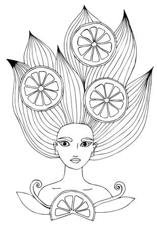 page long: Portrait of a beautiful girl with long hair with citrus fruits. Can be used as a card of beauty shop and salon spa. Mono color black line art element for adult coloring book page design.