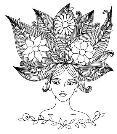 page long: Portrait of a beautiful girl with long hair with flower and leaves.  Mono color black line art element  for adult coloring book page design. Illustration
