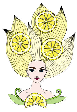 yellow hair: Portrait of a beautiful girl with long yellow hair with lemon citrus fruits. Can be used as a card of beauty shop and salon spa. Mono color black line art element for adult coloring book page design.