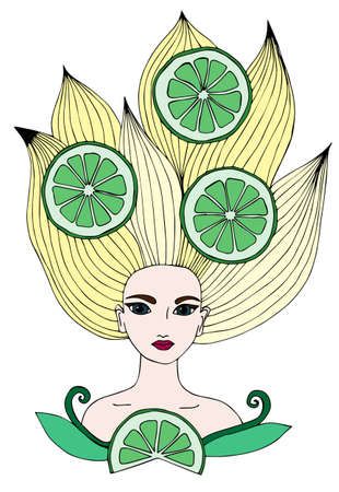 yellow hair: Portrait of a beautiful girl with long yellow hair with lime citrus fruits. Can be used as a card of beauty shop and salon spa. Mono color black line art element for adult coloring book page design.