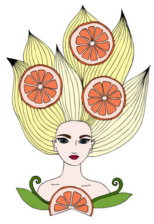 page long: Portrait of a beautiful girl with long yellow hair with orange citrus fruits. Can be used as a card of beauty shop and salon spa. Mono color black line art element for adult coloring book page design.