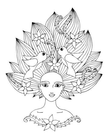 color pages: Portrait of a beautiful girl with long hair with flower and bird.  Mono color black line art element  for adult coloring book page design.