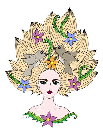 coloring lips: Portrait of girl with long hair with flower and bird.  Multicolor art element  for adult coloring book page design.