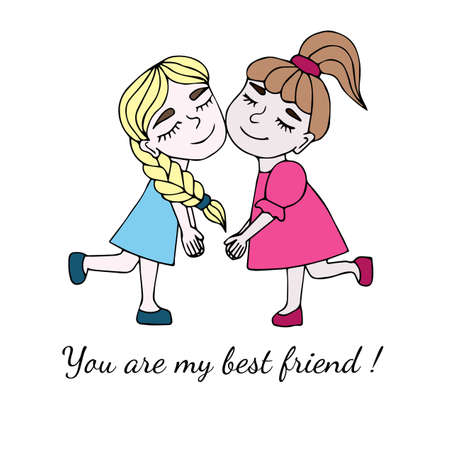 best: Two best friends together with inscription You are my best friend isolated on the white background. Vector illustration about friendship.