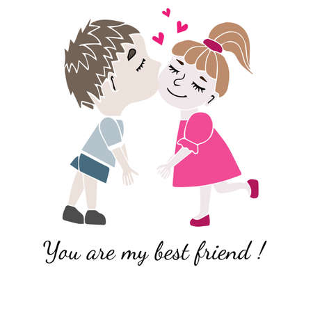 gal: Two best friends boy and girl together with inscription You are my best friend isolated on the white background. Vector illustration about friendship.