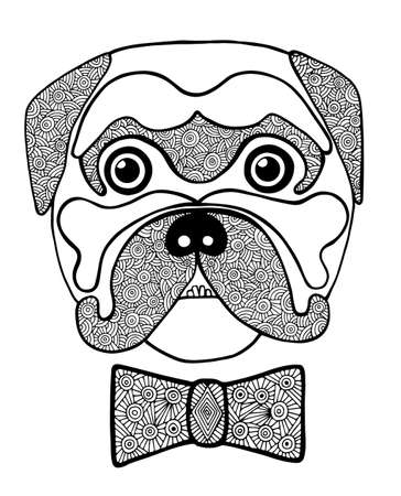 blackly: Black line cute dog head with abstract blackly white bow. Hand drawn sketch for adult and children anti stress coloring page, T-shirt, , greeting card. Animal design