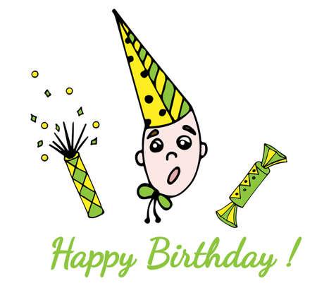 Présenter la carte de voeux de joyeux anniversaire avec des bonbons, des enfants et cracker isolé sur le fond blanc. Vecteurs