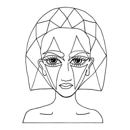 Porträt einer schönen Mädchen mit abstrakten Make-up auf dem Gesicht, kann als eine Karte von Beauty-Shop und anderen Salon verwendet werden. Mono Farbe schwarze Linie Kunst-Element für Erwachsene Malbuch Seite Design.
