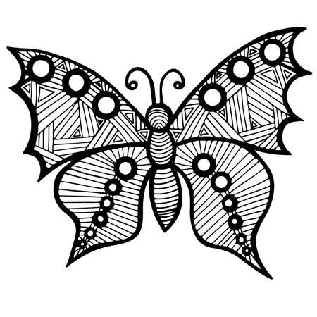 anti season: Black line butterfly for tattoo, coloring book for adult and kids isolated on the white background
