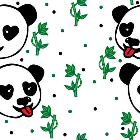 green bamboo: Seamless with head of Panda and green bamboo on the white background