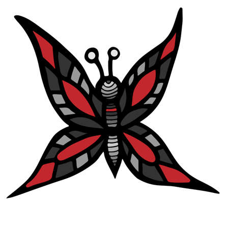 anti season: Abstract isolated butterfly red and gray color for tattoo, coloring book or page for adult and kids on the white background