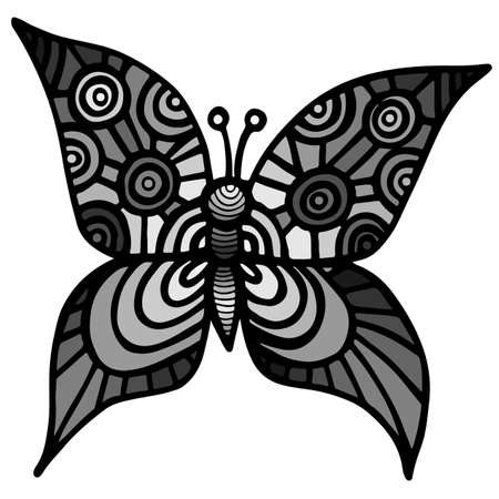 anti season: Decorative isolated gray butterfly for tattoo, coloring book or page for adult and kids on the white background Illustration